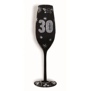 Picture of 30th BIRTHDAY BLACK FLUTED GLASS
