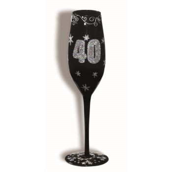 Picture of 40th BIRTHDAY BLACK FLUTED GLASS