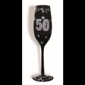 Image de 50th - BIRTHDAY BLACK FLUTED GLASS