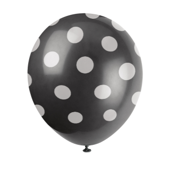 """Picture of 12"""" DOTS BLACK BALLOON WHITE DOTS"""