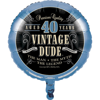 "Picture of 40th -18"" FOIL BALLOON - VINTAGE DUDE"