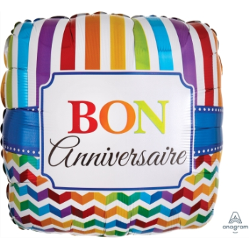 "Picture of 18"" FOIL - BON ANNIVERSAIRE STRIPE & CHEVRON"