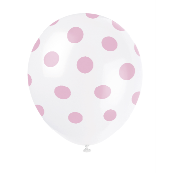 "Picture of 12"" DOTS WHITE BALLOON PINK DOTS - NOT FOR HELIUM"