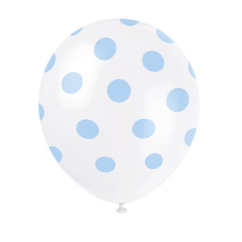 "Picture of 12"" DOTS WHITE BALLOON LT BLUE DOTS - NOT FOR HELIUM"