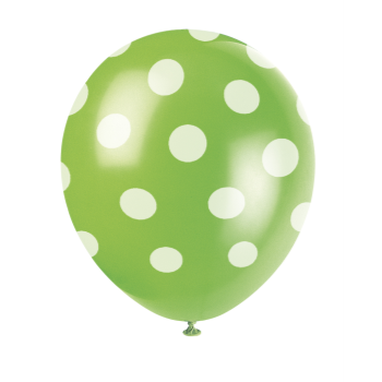 "Picture of 12"" DOTS LIME GREEN BALLOON WHITE DOTS - NOT FOR HELIUM"