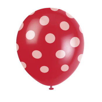 "Picture of 12"" DOTS RED BALLOON WHITE DOTS - NOT FOR HELIUM"