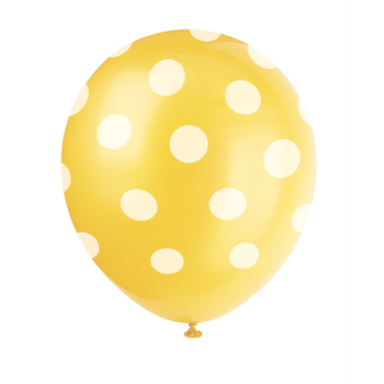 "Picture of 12"" DOTS YELLOW BALLOON WHITE DOTS - NOT FOR HELIUM"