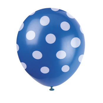 "Picture of 12"" DOTS ROYAL BALLOON WHITE DOTS - NOT FOR HELIUM"
