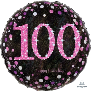 "Picture of 100th - 18"" FOIL BALLOON - PINK CELEBRATION"