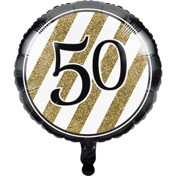 """Image de 50th - 18"""" FOIL BALLOON - BLACK AND GOLD BIRTHDAY"""