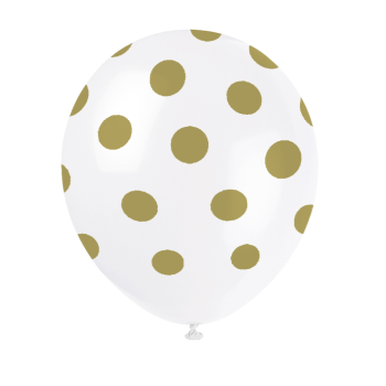 "Picture of 12"" DOTS WHITE BALLOON GOLD DOTS - NOT FOR HELIUM"