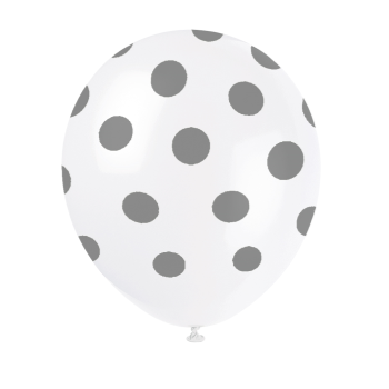 "Picture of 12"" DOTS WHITE BALLOON SILVER DOTS - NOT FOR HELIUM"