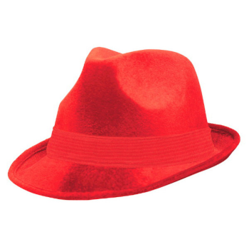Picture of RED FELT FEDORA HAT