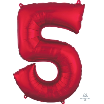 Picture of 34'' NUMBER 5 SUPERSHAPE - RED