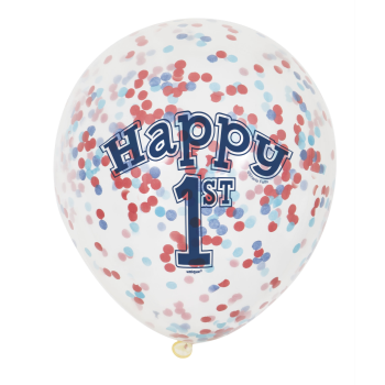 "Picture of 12"" 1ST BALLOONS BLUE/RED PAPER CONFETTI"