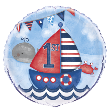 "Image de 18"" FOIL - 1ST BIRTHDAY NAUTICAL"