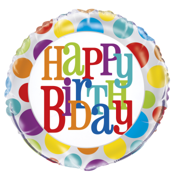 "Image de 18"" FOIL - RAINBOW DOTS BIRTHDAY"