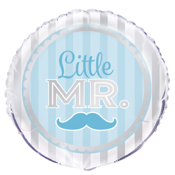 "Image de 18"" FOIL - BLUE MUSTACHE LITTLE MR. BABY"