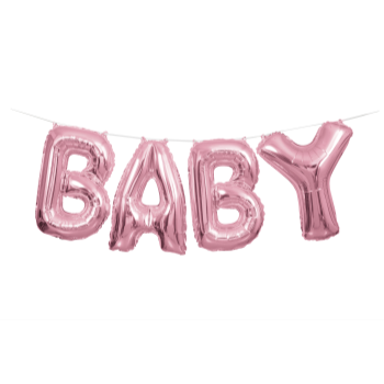 Picture of FOIL BALLOON BANNERS - BABY PINK