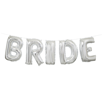 Picture of FOIL BALLOON BANNERS - BRIDE SILVER