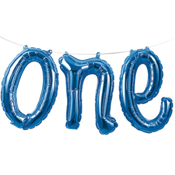 Picture of BLUE ONE MYLAR BALLOON BANNER