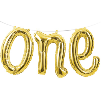 Picture of GOLD ONE MYLAR BALLOON BANNER
