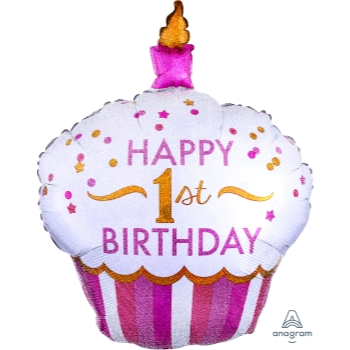 Image de 1ST BDAY CUPCAKE PINK SUPERSHAPE BALLOON