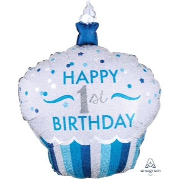 Image de 1ST BDAY CUPCAKE BLUE SUPERSHAPE BALLOON