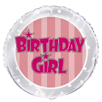 "Image de 18"" FOIL - PINK STRIPE BIRTHDAY GIRL"