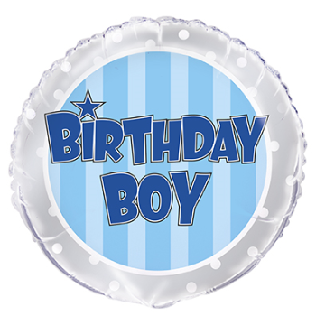 "Picture of 18"" FOIL - BLUE STRIPE BIRTHDAY BOY"