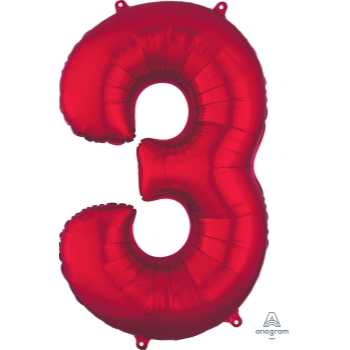 Picture of 34'' NUMBER 3 SUPERSHAPE - RED