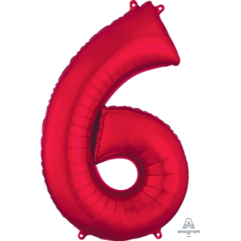 Picture of 34'' NUMBER 6 SUPERSHAPE - RED