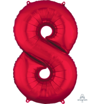 Picture of 34'' NUMBER 8 SUPERSHAPE - RED