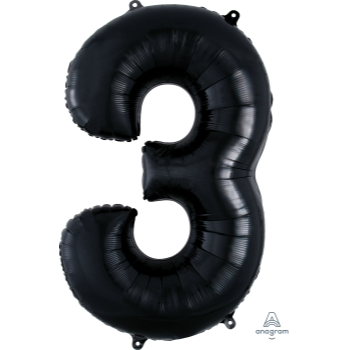 Picture of 34'' NUMBER 3 SUPERSHAPE - BLACK