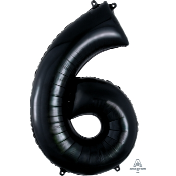 Picture of 34'' NUMBER 6 SUPERSHAPE - BLACK