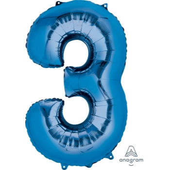 Picture of 34'' NUMBER 3 SUPERSHAPE - BLUE
