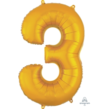 Picture of 34'' NUMBER 3 SUPERSHAPE - GOLD