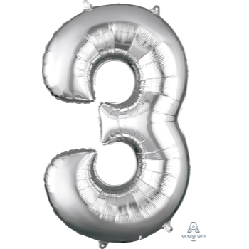 Picture of 34'' NUMBER 3 SUPERSHAPE - SILVER