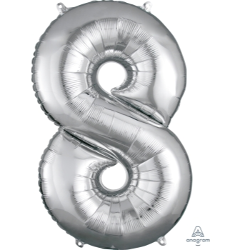 Picture of 34'' NUMBER 8 SUPERSHAPE - SILVER