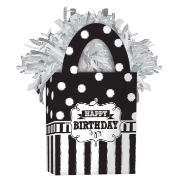Image de CHALKBOARD BIRTHDAY BLACK/WHITE BALLOON WEIGHT