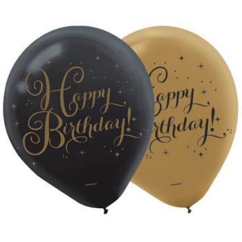 """Picture of 12"""" BIRTHDAY BALLOONS - GOLD/BLACK 15/PKG"""