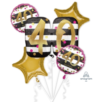Picture of 40th - PINK & GOLD MILESTONE FOIL BOUQUET