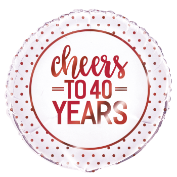 "Picture of 40th - 18"" FOIL BALLOON - CHEERS TO 40 YEARS - RED"