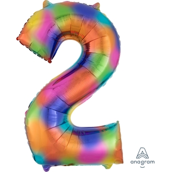 Picture of 34'' NUMBER 2 SUPERSHAPE - RAINBOW SPLASH