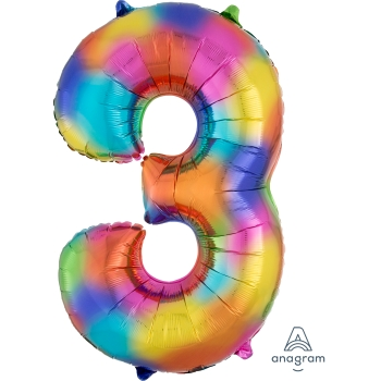 Picture of 34'' NUMBER 3 SUPERSHAPE - RAINBOW SPLASH