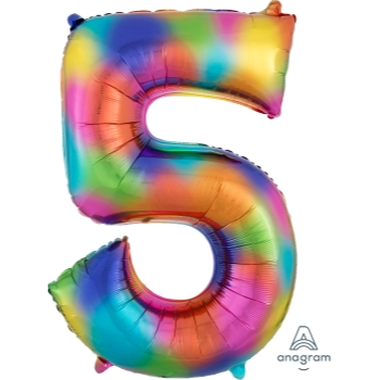 Picture of 34'' NUMBER 5 SUPERSHAPE - RAINBOW SPLASH