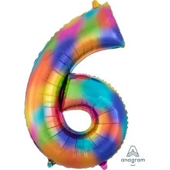 Picture of 34'' NUMBER 6 SUPERSHAPE - RAINBOW SPLASH