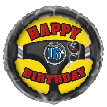 "Picture of 18"" FOIL - HAPPY 16TH BDAY - STEERING WHEEL"