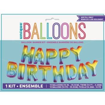 Picture of FOIL BALLOON BANNERS - RAINBOW  HAPPY BIRTHDAY - AIR FILLED
