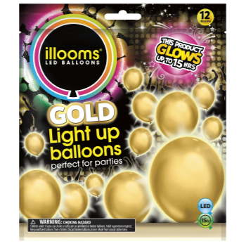 Picture of 15 HOUR LIGHT UP BALLOON - COLOR CHANGING - GOLD
